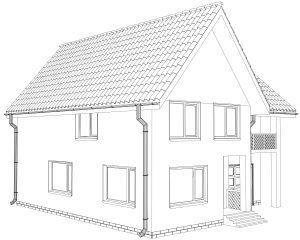 Beispiel-Umriss eines Einfamilienhaus