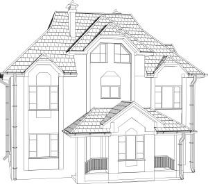 Beispiel-Umriss eines Mehrfamilienhaus