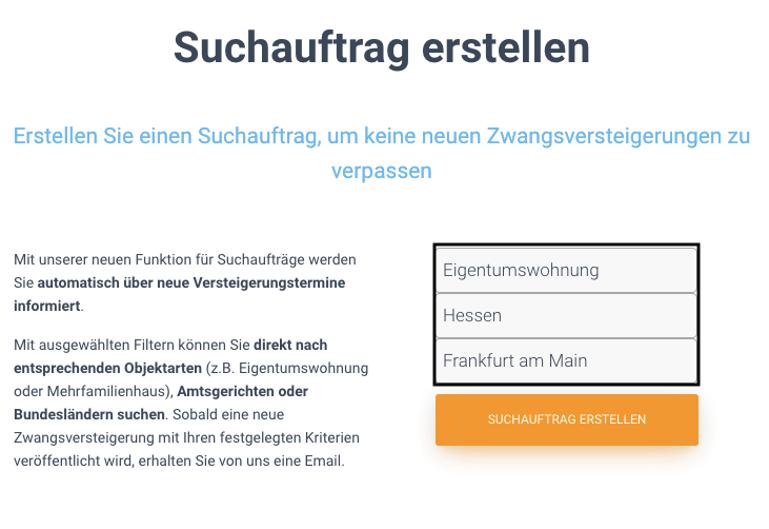 Suchauftrag erstellen auf dein-immocenter.de
